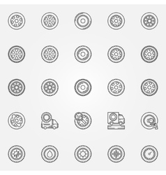 Car wheels icons vector image