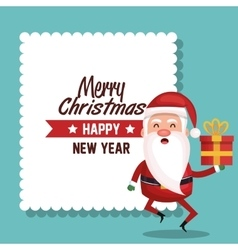 card santa holding gift merry christmas design vector image