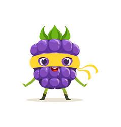 Cartoon character of happy superhero blackberry vector