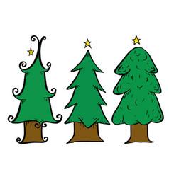 christmas tree drawing set vector image