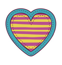 Colorful heart shape with lines pattern vector