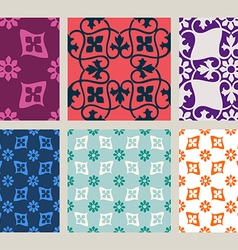 Colorful set of seamless floral patterns vintage vector image