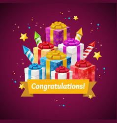 congratulations greeting card concept vector image vector image