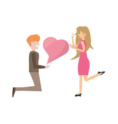 Couple romantic proposal heart image vector