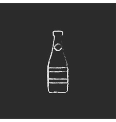Glass bottle icon drawn in chalk vector