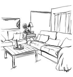 hand drawn room interior sketch chair sofa vector image vector image