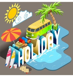 Holiday Isometric Postcard Infographic vector image vector image