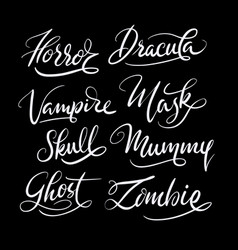 Horror and mask hand written typography vector