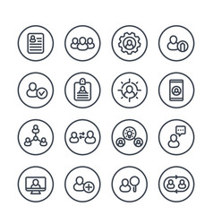 Human resources and management line icons vector
