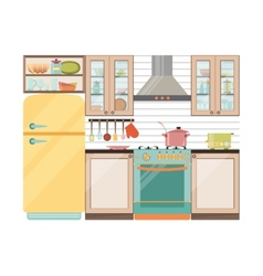 Kitchen interior Kitchen appliances and utensils vector image