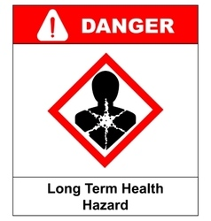Long term health hazard man in red rhombus symbol vector image