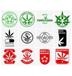 Medical marijuana or cannabis logos labels vector image