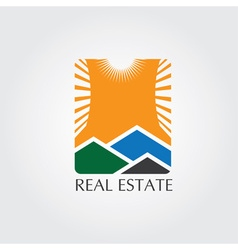 real estate icon with sun vector image vector image