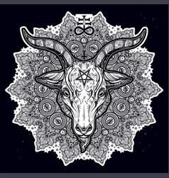 satanic eye in ornate mandala with demon baphomet vector image vector image