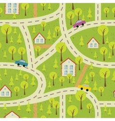 Seamless pattern with light asphalt and houses 2 vector