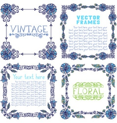 Set of ornate frames with floral elements vector