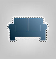 Sofa sign blue icon with vector