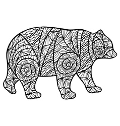 Stylized bear zantangl vector