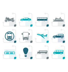 stylized travel and transportation of people icons vector image vector image