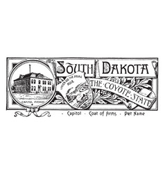 The state banner of south dakota the coyote state vector