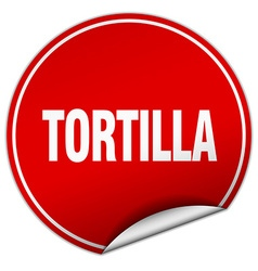 Tortilla round red sticker isolated on white vector
