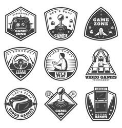 Vintage monochrome video game labels set vector
