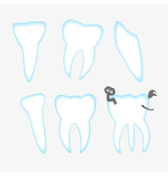 White and blue teeth with decay eps10 vector
