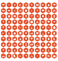 100 agriculture icons hexagon orange vector