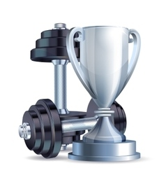 Silver cup with metal realistic dumbbells vector