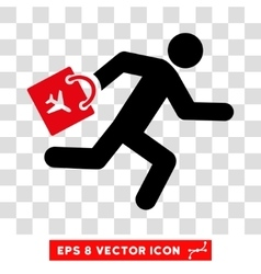 Late airport passenger eps icon vector