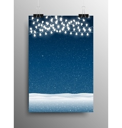 Vertical poster snow garland snowdrifts christmas vector