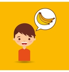 Boy smiling cartoon banana icon design vector