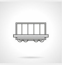 Rail platform with container flat line icon vector
