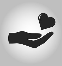 icon hand holding heart love isolated vector image