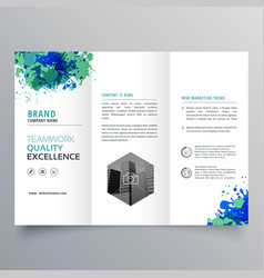 Abstract grungy ink business trifold brochure vector