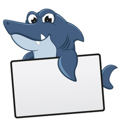 Funny Shark Cartoon With Blank Sign vector image