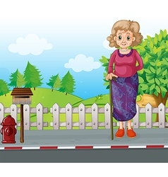 An old woman with a cane standing at the roadside vector