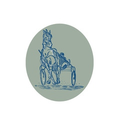 Horse and jockey harness racing etching vector