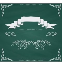 Chalkboard card with doodle hand sketched vector