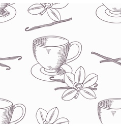 Hand drawn coffee cup with vanilla seamless vector