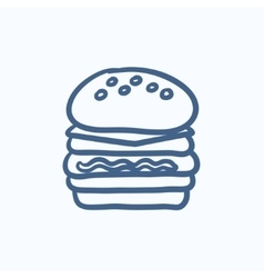 Double burger sketch icon vector