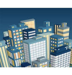 Night city landscape isometric view vector