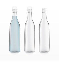 Transparent empty bottles and bottle with water vector