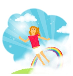 Little girl flying in the clouds vector