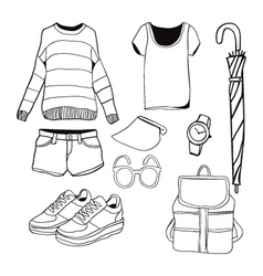 A set of summer outfit collection vector image