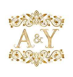 Ay vintage initials logo symbol letters a y vector