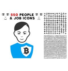 Bitcoin police officer icon with bonus vector