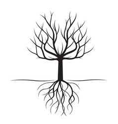 Black tree with roots vector