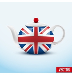 Brown ceramic teapot vector