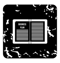 Business plan icon grunge style vector image